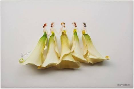 Arum lilies used to create elegant skirts