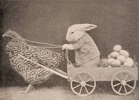 Chickens and rabbits symbolise fertility and new life, which has significance for Easter. Easter eggs were also a integral part of ancient pagan festivals