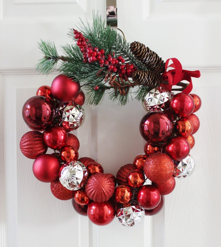 A gorgeous bauble wreath that you can customise to match any colour scheme. Source: Delightfully Noted