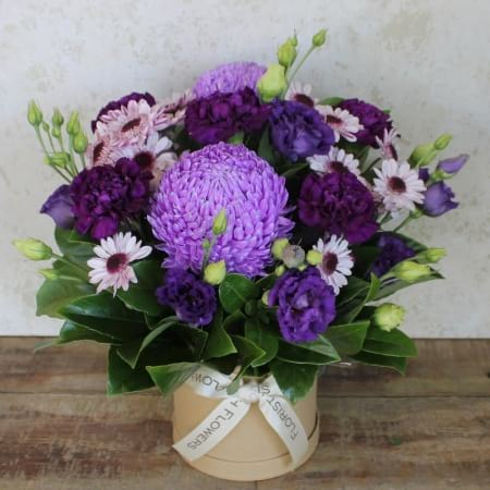 Mesmerising Mauve and Purple Box Arrangement