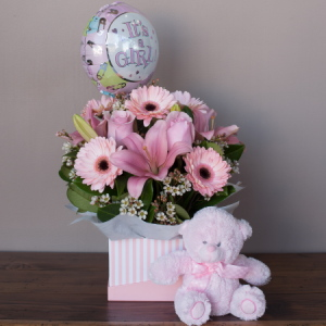 Baby Girl Flowers Box With Teddy And Balloon